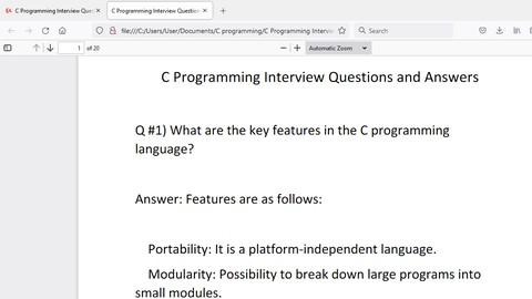C Programming Interview Questions and Answers