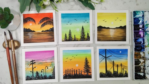 Watercolor Glowing Sunset - Mini polaroid paintings
