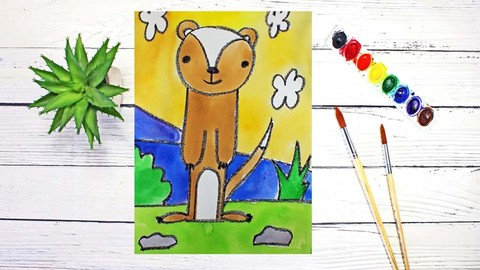 Draw & Watercolor Paint 10 Cartoon Animals for Beginners