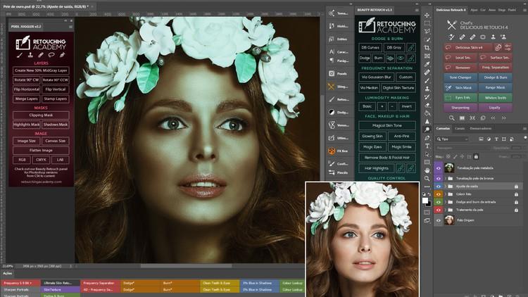 Tratamento de pele e tonalização metalizada no Photoshop.